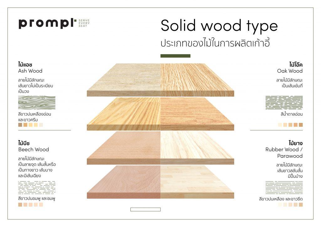 Infographic ประเภทของไม้ในการผลิตเก้าอี้